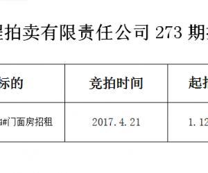 马鞍山远程拍卖有限责任公司第273期拍卖成交公告