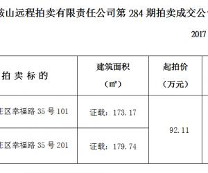 马鞍山市远程拍卖有限责任公司284期拍卖成交公告