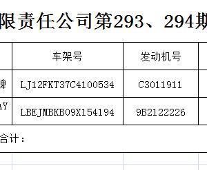 马鞍山远程拍卖有限责任公司第293、294期拍卖会成交公告