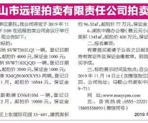 马鞍山市远程拍卖有限责任公司第565期拍卖公告 车辆
