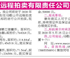 马鞍山市远程拍卖有限责任公司第629期拍卖公告